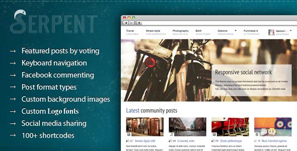Serpent Commuity Content Sharing WordPress theme