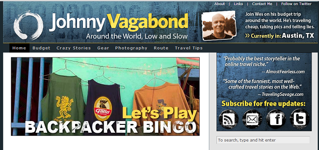 Johnny Vagabond travel blog