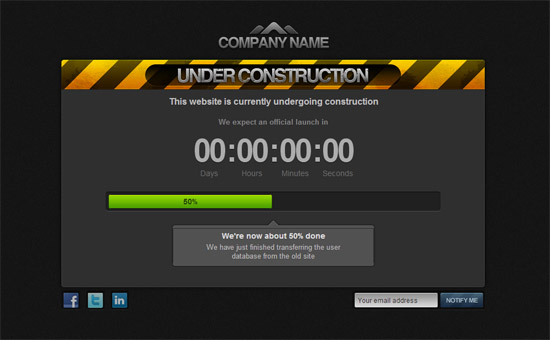 Under Construction CSS Html template