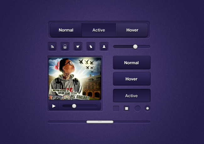 15 purple-ui-elements free psd