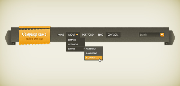 16 free dropdown menu psd