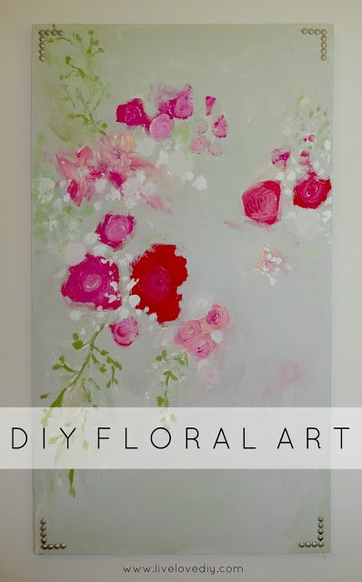 DIY Floral Wall Art with Nailhead Trim