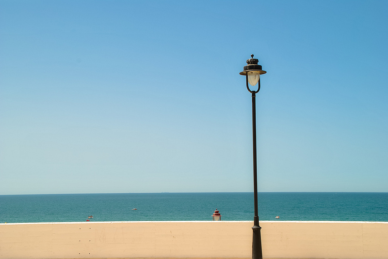 Minimalist. Beach, sea and lamp