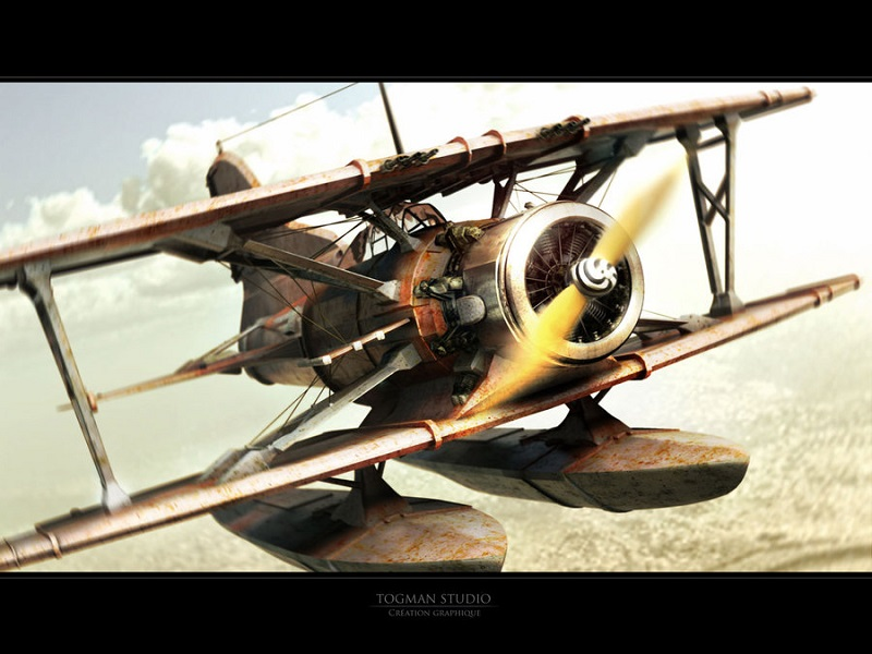 3d illustration chasing_airplane_by_Togman_Studio