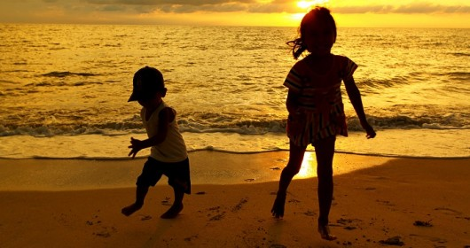 kids in sunset