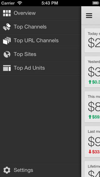 Google adsense iOS  app main screen