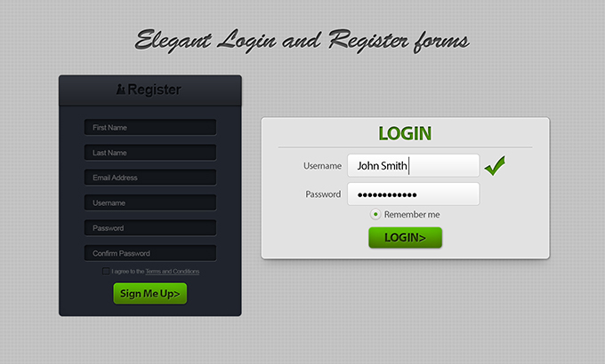 Login & Register Form Free PSDs