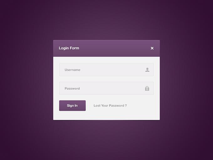 Purple Login Form PSD free